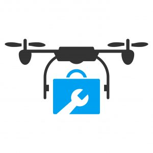 Service Drone vector icon. Style is bicolor flat symbol, blue and gray colors, rounded angles, white background.