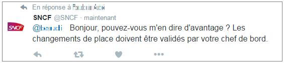 Exemple d'interaction client sur Twitter de la SNCF