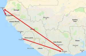 Difficultés de trajet aérien en Afrique - crédit Google maps