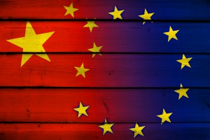China and European Union Flag on wood background