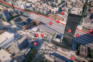 Vue aérienne du projet de transformation de la gare et du quartier Part-Dieu à Lyon