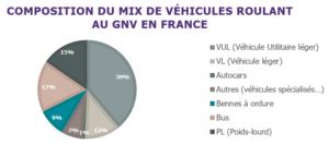Composition du mix de véhicules roulant au GNV en France