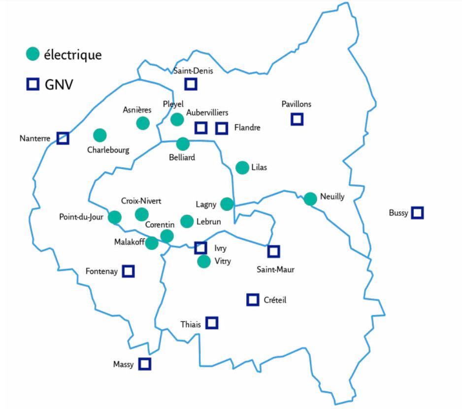 Répartition des centres bus de la zone RATP